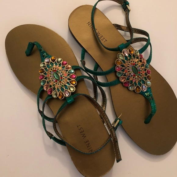 c8f6a715dace3 Jeweled Sandals. NWT. Nine West